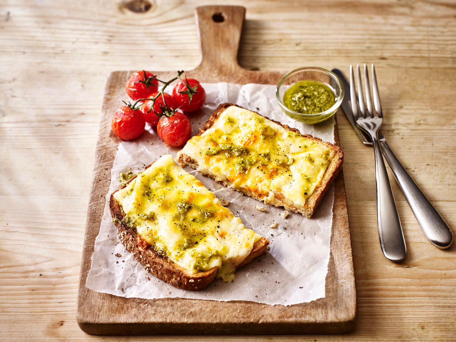 Cheese on Toast with Pesto and Grilled Tomatoes